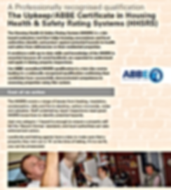 Upkeep / ABBE Cetificate in Housing Health & Safety Rating Systms (HHSRS)