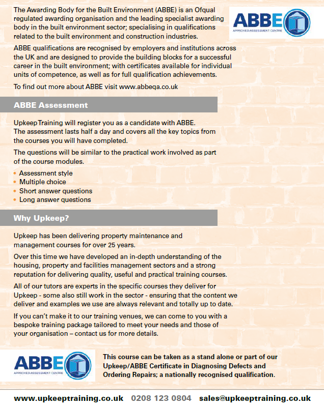 Upkeep / ABBE Certificate in Diagnosing Defects & Ordering Repairs