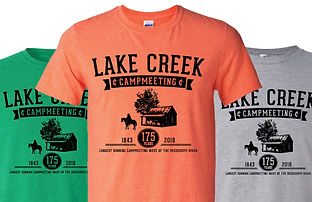 Green, orange, and gray 175 years campmeeting t-shirts
