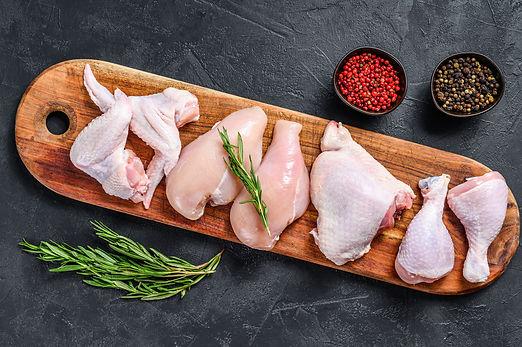 Fresh raw chicken meat and chicken parts