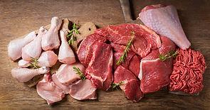 various types of fresh meat: pork, beef,