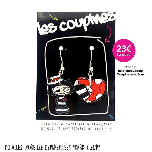 BOUCLES D'OREILLE DÉPAREILLÉE DARK/COEUR