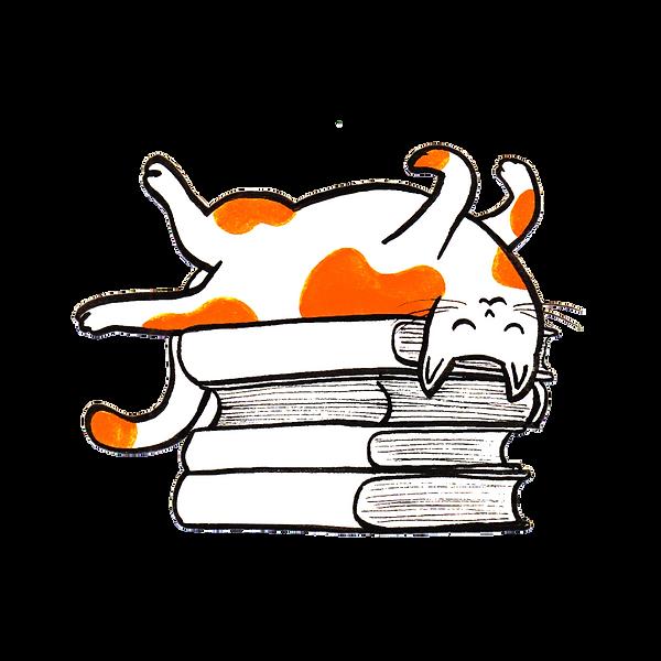 Esse é o símbolo do blog. Um gatinho em cima dos livros.