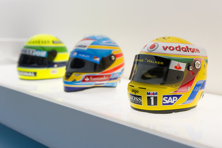 Senna, Alonso and Hamilton Helmets