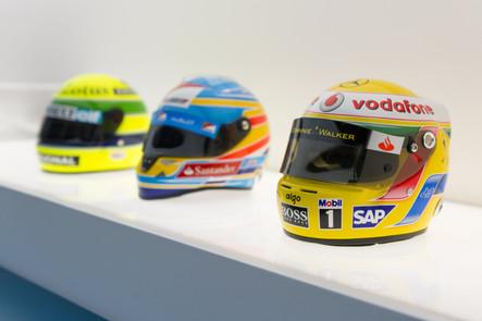 Senna, Alonso and Hamilton Helmets