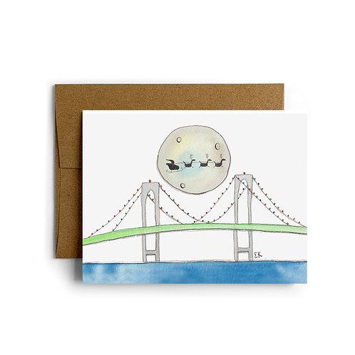 Newport Bridge Christmas Greeting Card