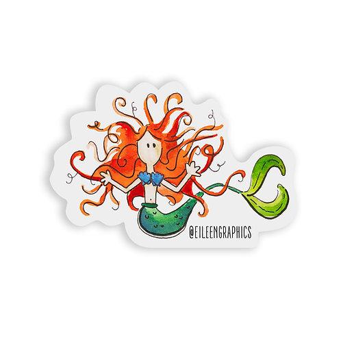 Set of 2 Mermaid Stickers (Red Hair, Blue Bra)