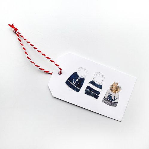 Set of 6 Pom Pom Hats Gift Tags