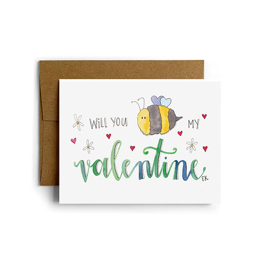 Bee My Valentine Greeting Card