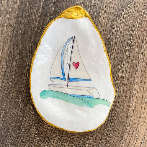 Set Sail Decoupage Oyster Shell