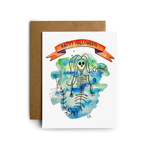 Mermaid Skeleton Greeting Card