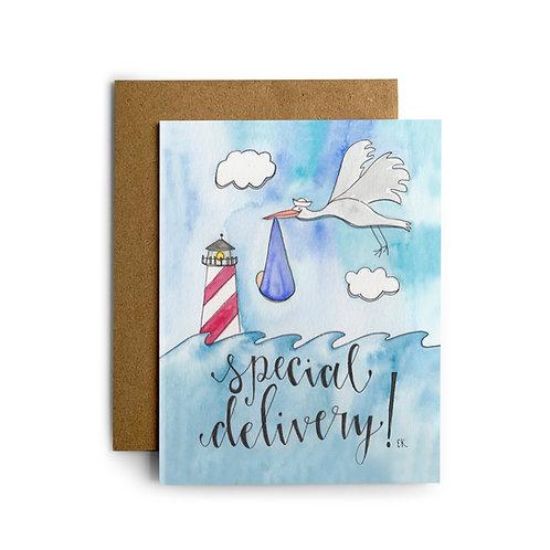 Baby Boy Stork Greeting Card