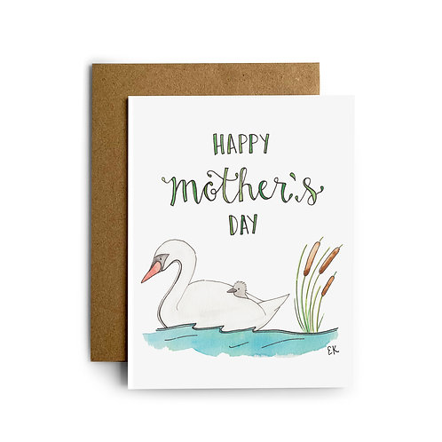 Mother's Day Swan Greeting Card