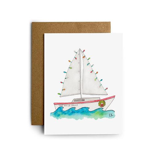 Holly Jolly Sailboat Greeting Card