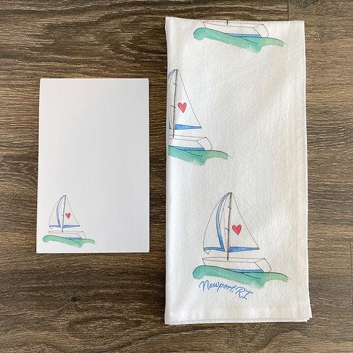 Set Sail Notepad + Tea Towel Gift Set