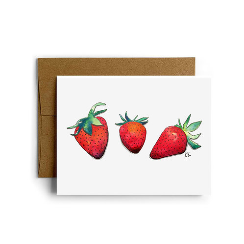 Strawberry Trio Greeting Card