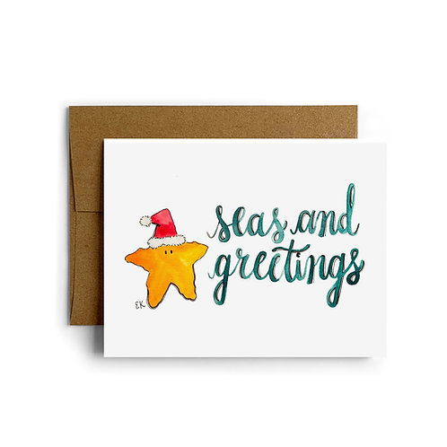 Starfish Seas and Greetings Greeting Card
