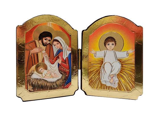 座枱單摺聖家與小耶穌擺設 / TWO-FOLD HOLY FAMILY AND BB JESUS DESKTOP PLAQUE