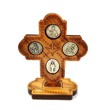 四勳章座枱啡色十字架 / 4 WAY DESKTOP WOOD CROSS BROWN COLOR