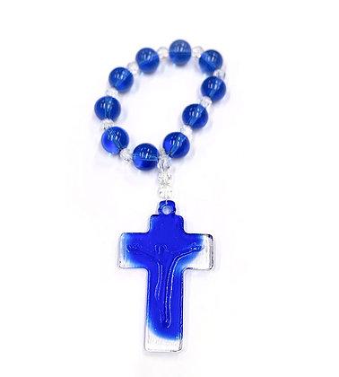 藍色琉璃唸珠環 / ONE DECADE BLUE LIULI ROSARY RING