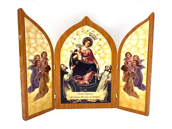 座枱兩摺龐貝聖母畫擺設 / TRI-FOLD OUR LADY OF POMPEII DESKTOP PLAQUE