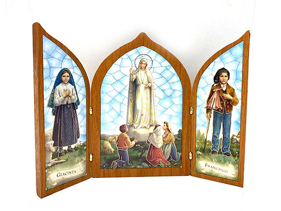 座枱兩摺花地瑪畫擺設 / TRI-FOLD OUR LADY OF FATIMA DESKTOP PLAQUE