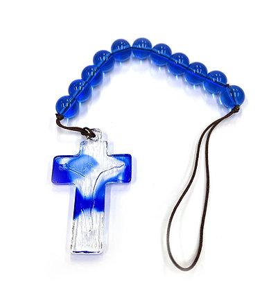 一端藍色琉球唸珠 / ONE DECADE BLUE LIULI CHAPLET