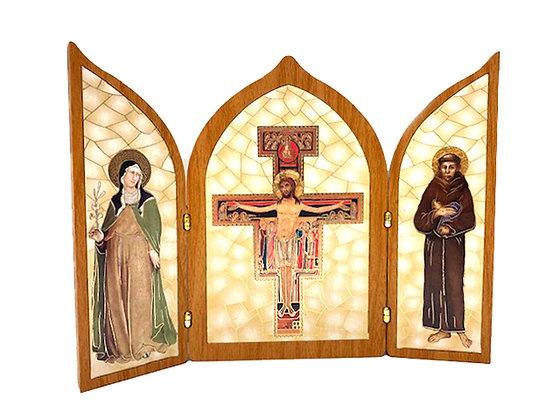 座枱兩摺聖達勉十字架畫擺設 / TRI-FOLD SAN DAMINAO DESKTOP PLAQUE