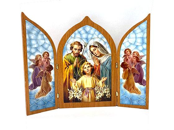 座枱兩摺聖家畫擺設 / TRI-FOLD HOLY FAMILY DESKTOP PLAQUE