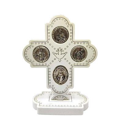 四勳章座枱白色十字架 / 4 WAY DESKTOP WOOD CROSS WHITE COLOR