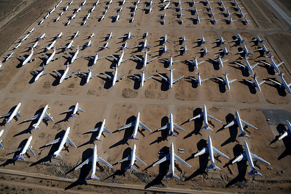 Victorville aircraft graveyard in California