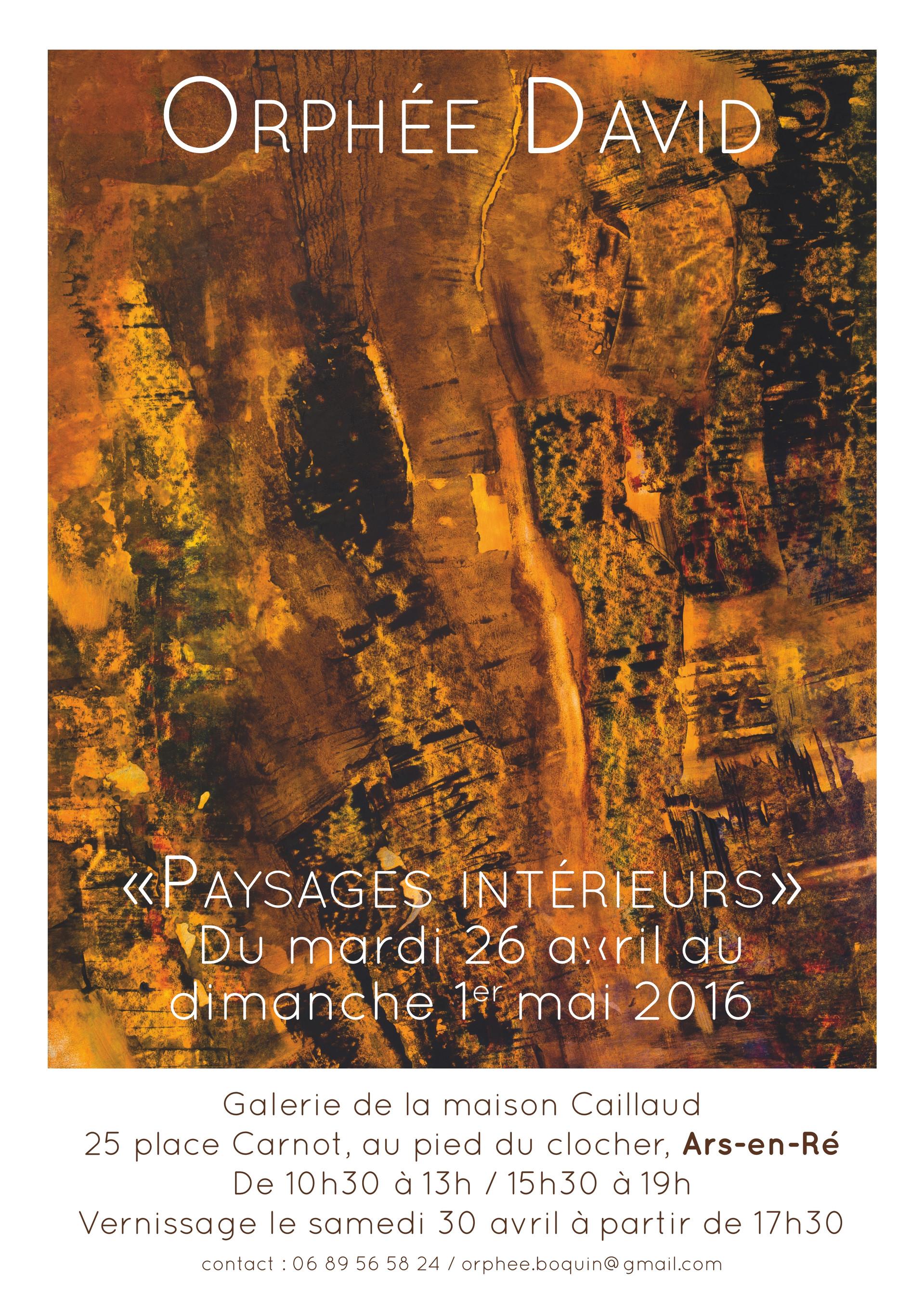 Affiche exposition ILe de Ré, Ars en ré, Orphée david boquin