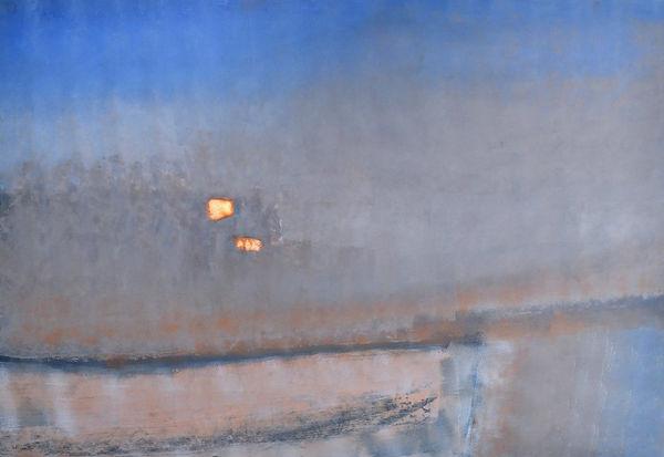 peinture paysage abstrait poétique bleu