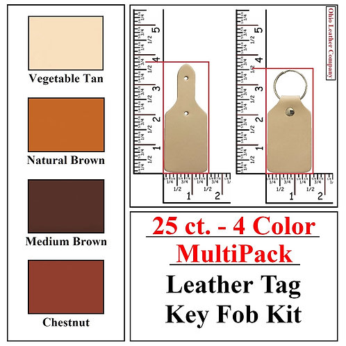 25 ct. - 4 Color - MultiPack - Leather Tag Key Fob Kit