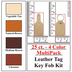 25 ct.- 4 Color MultiPack Leather Tag Key Fob Kit - OhioLeatherCompanyKit -
