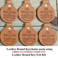Leather Round Keychain - OhioLeatherCompany.com -01