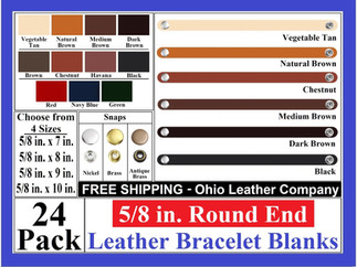 Bracelet Blanks - 5-8 in. Round End Leat