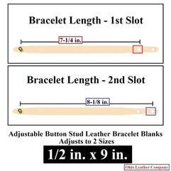 Adjustable Buttton Stud Leather Bracelet Blanks - 1/2 in. x 9 in. - Adjusts to 2 Sizes - OhioLeatherCompany.com