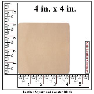 Leather Square 4x4 Coaster Blank Size - OhioLeatherCompany.com