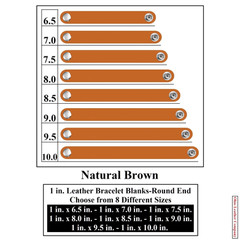 1 in. Leather Bracelet Blanks - Round End - Natural Brown - OhioLeatherCompany.com