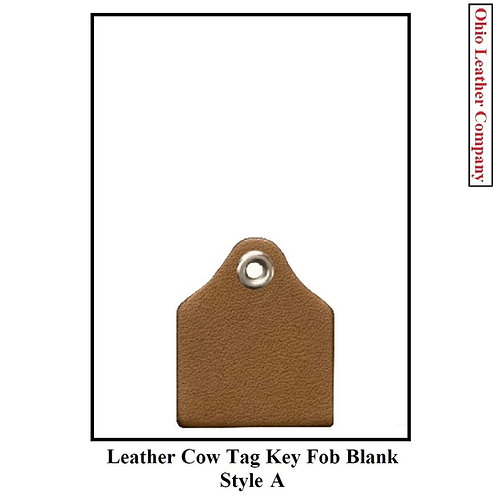 Leather Cow Tag Key Fob Blank - Style A