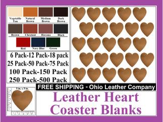Leather Coaster - Leather Heart Shaped C