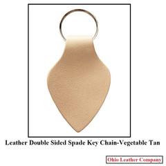 Leather Double Sided Spade Keychain - OhioLeatherCompany.com