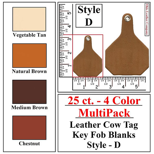 25 ct. - 4 Color - MultiPack - Leather Cow Tag Key Fob Blanks - Style D