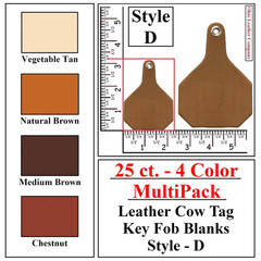 25 ct.- 4 Color MultiPack Leather Cow Tag Key Fob Blank - Style D - OhioLeatherCompany