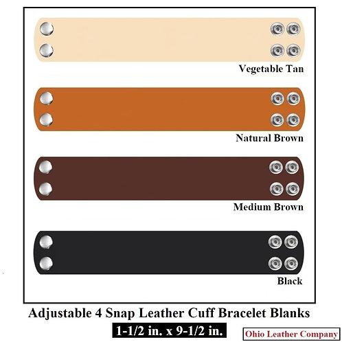 4 Color - MultiPack 1-1/2 in. x 9-1/2 in. Adjustable Wide Leather Bracelet Blank