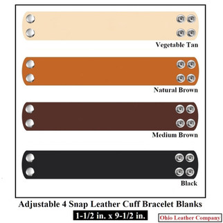 1-1/2 in. x 9-1/2 in. - Adjustable 4 Snap Leather Bracelet Blanks - OhioLeatherCompany.com