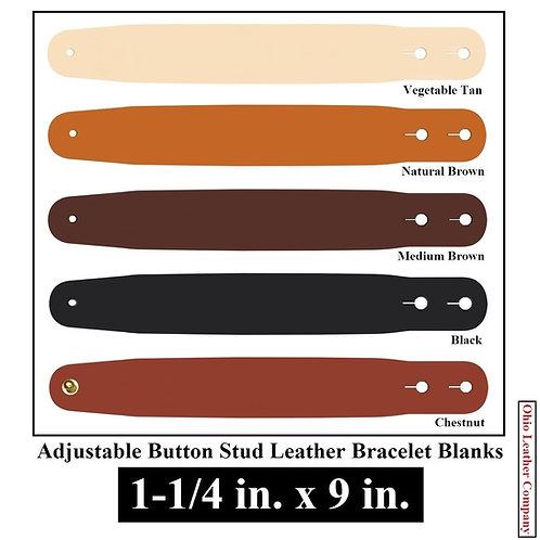 1- 1/4 in. x 9 in. Adjustable Button Stud Leather Bracelet Blank