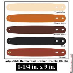 Adjustable Buttton Stud Leather BraceletAdjustable Buttton Stud Leather Bracelet Blanks - 1-1/4 in. x 9 in. - OhioLeatherCompany.com -2
