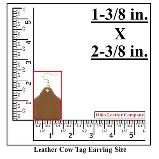 Leather Cow Tag Earring Size - Leather Cattle Tag Size - OhioLeatherCompany.com
